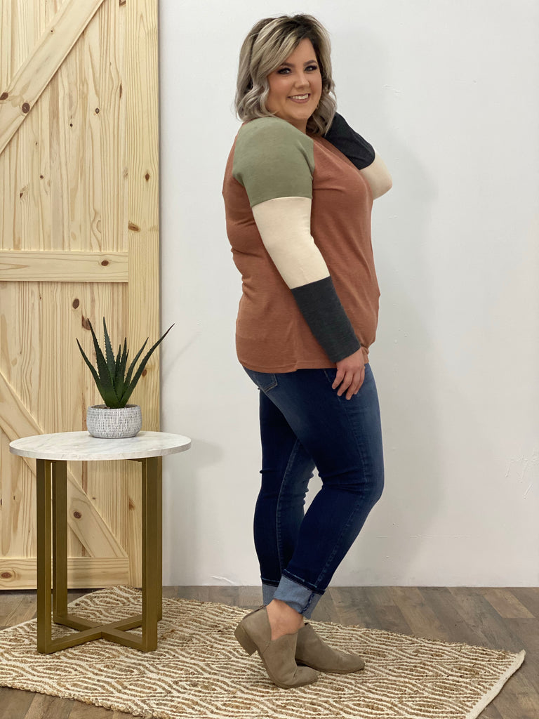 Abstract Love Color Block Top in Cinnamon