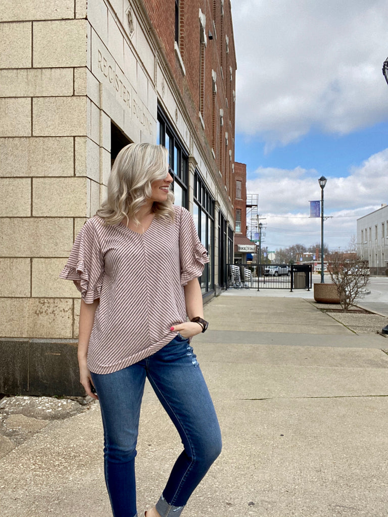 Anything Goes Grey/Pink Striped Top