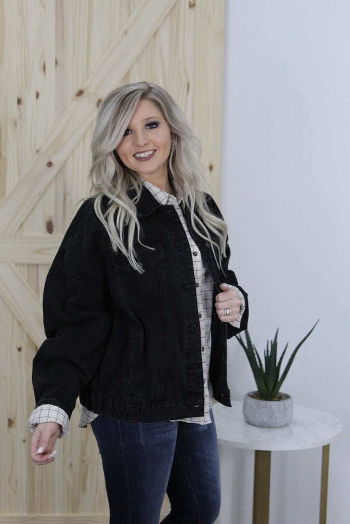 Swept Away Black Denim Boyfriend Jacket