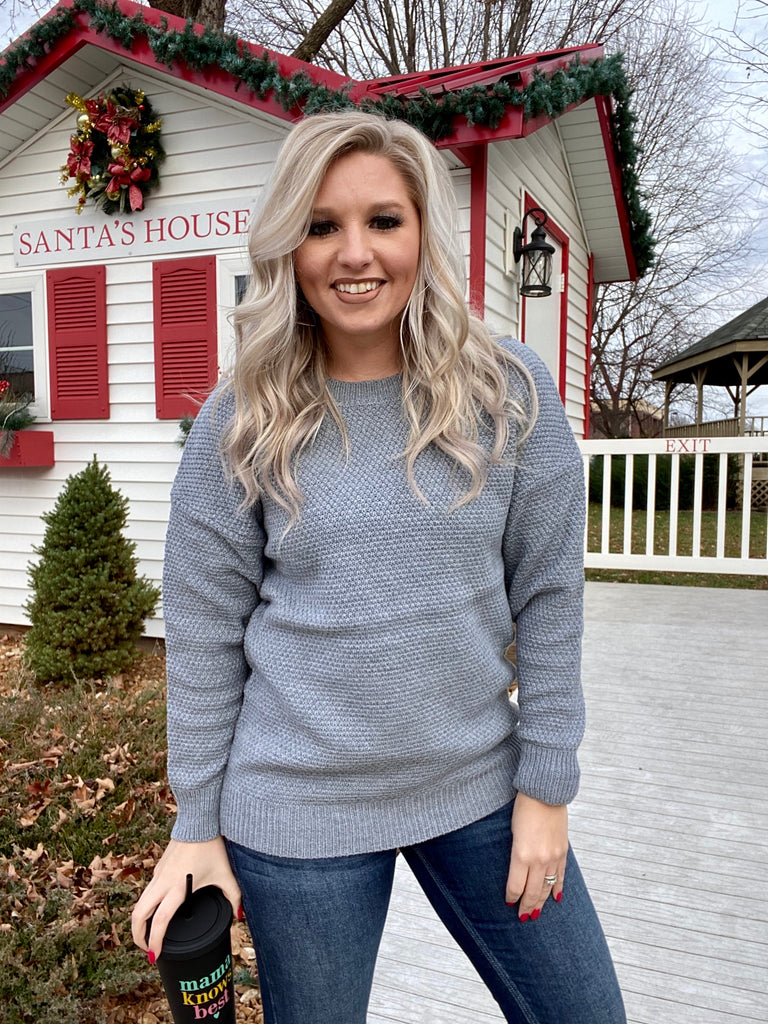 Write My Story Sweater In Heather Grey