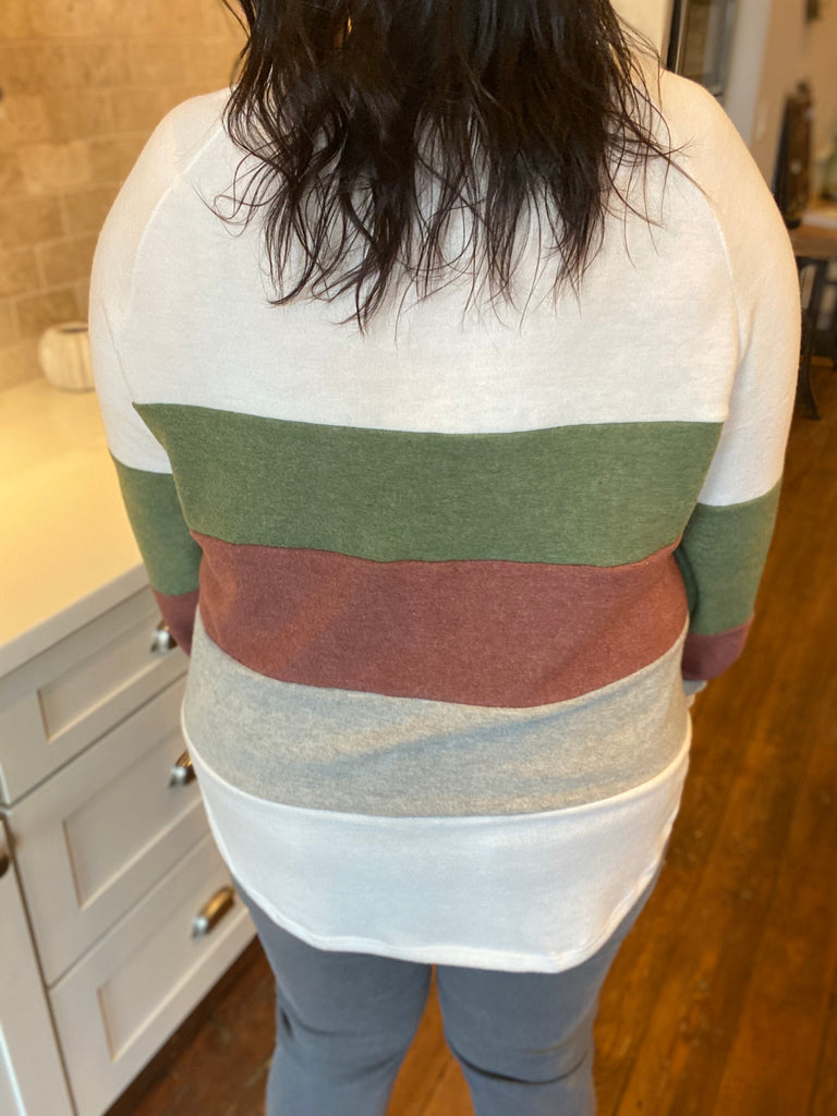 Be Somebody Color Block Sweater in Sage