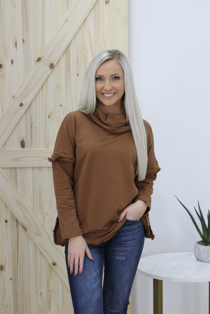 Slow Dance Camel Fringe Sweater