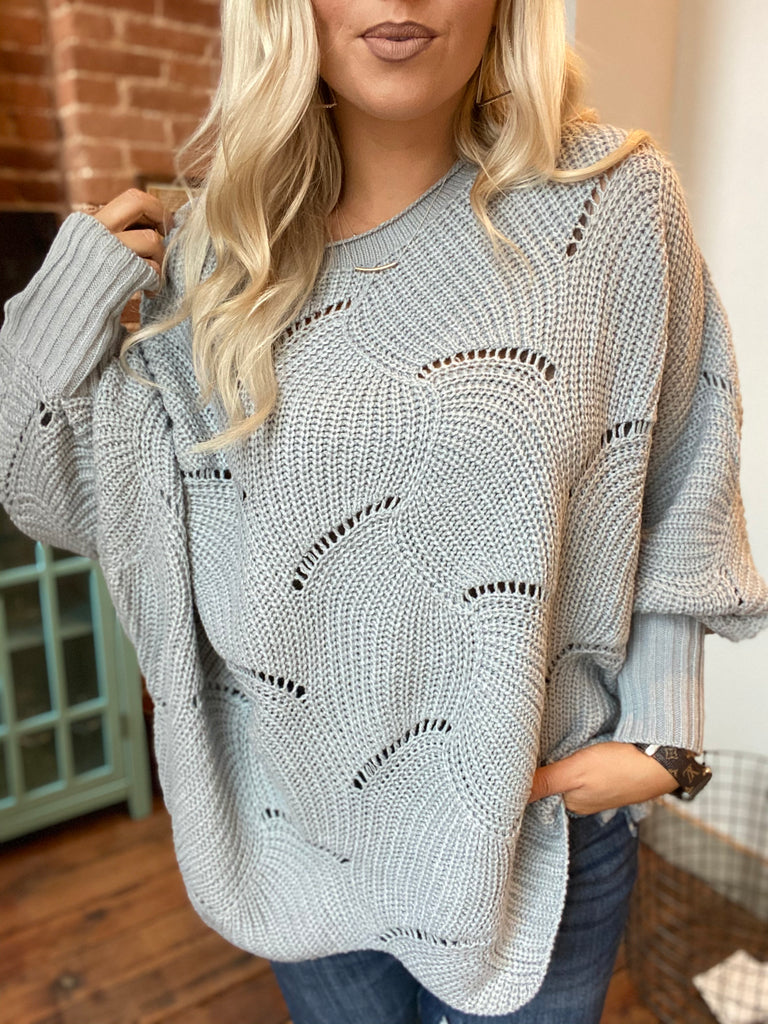 Wave Bat Wing Sleeve Sweater In Grey