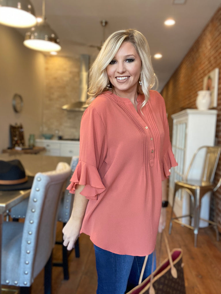 Bubble Crepe Clay Blouse