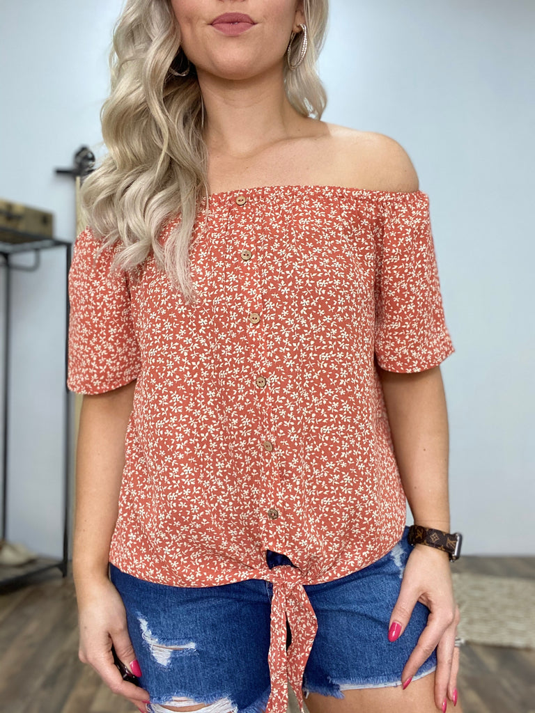 Made For Wandering Dusty Orange Off The Shoulder Top
