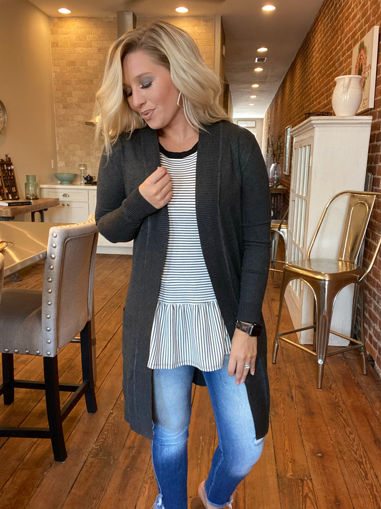 Forever Begins Cardigan In Charcoal Grey
