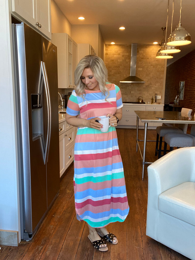 Starburst Rainbow Striped Pocket Dress