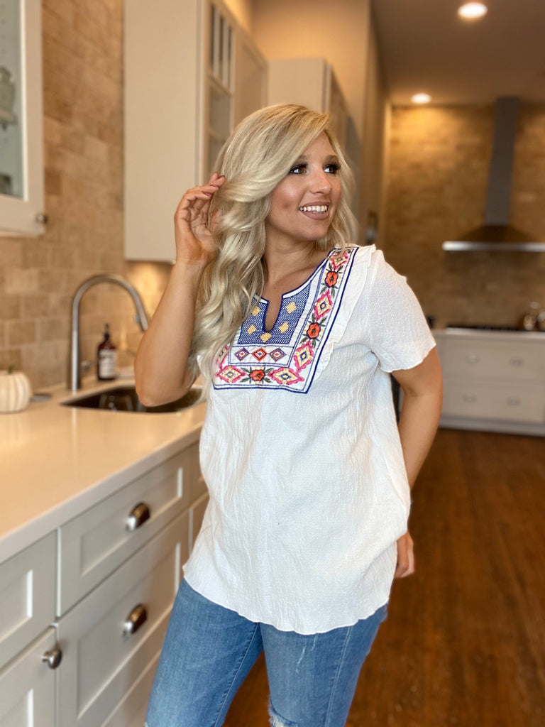 Blame It On Me Embroidered Blouse
