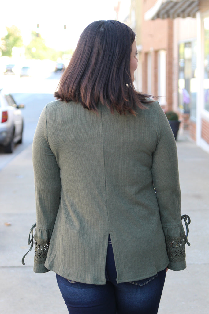 Folded Wings Bell Sleeve Top In Olive