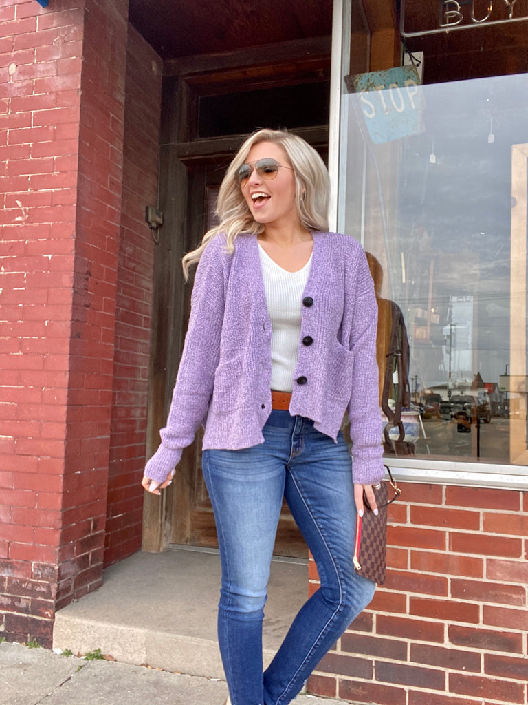 Be Inspired Cardigan In Lavender