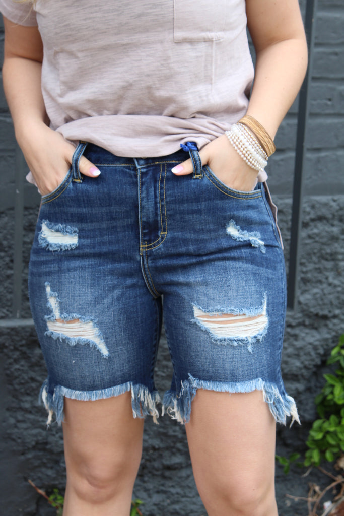 Distressed Dark Wash Shorts