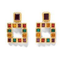 multicolored squared earrings