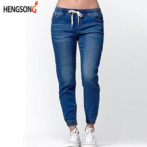 fa099cfedc602 Hengsong 2018 New Women Fashion Casual Drawstring Jeans Women Summer Autumn  Skinny Middle Waist Ladies Lantern