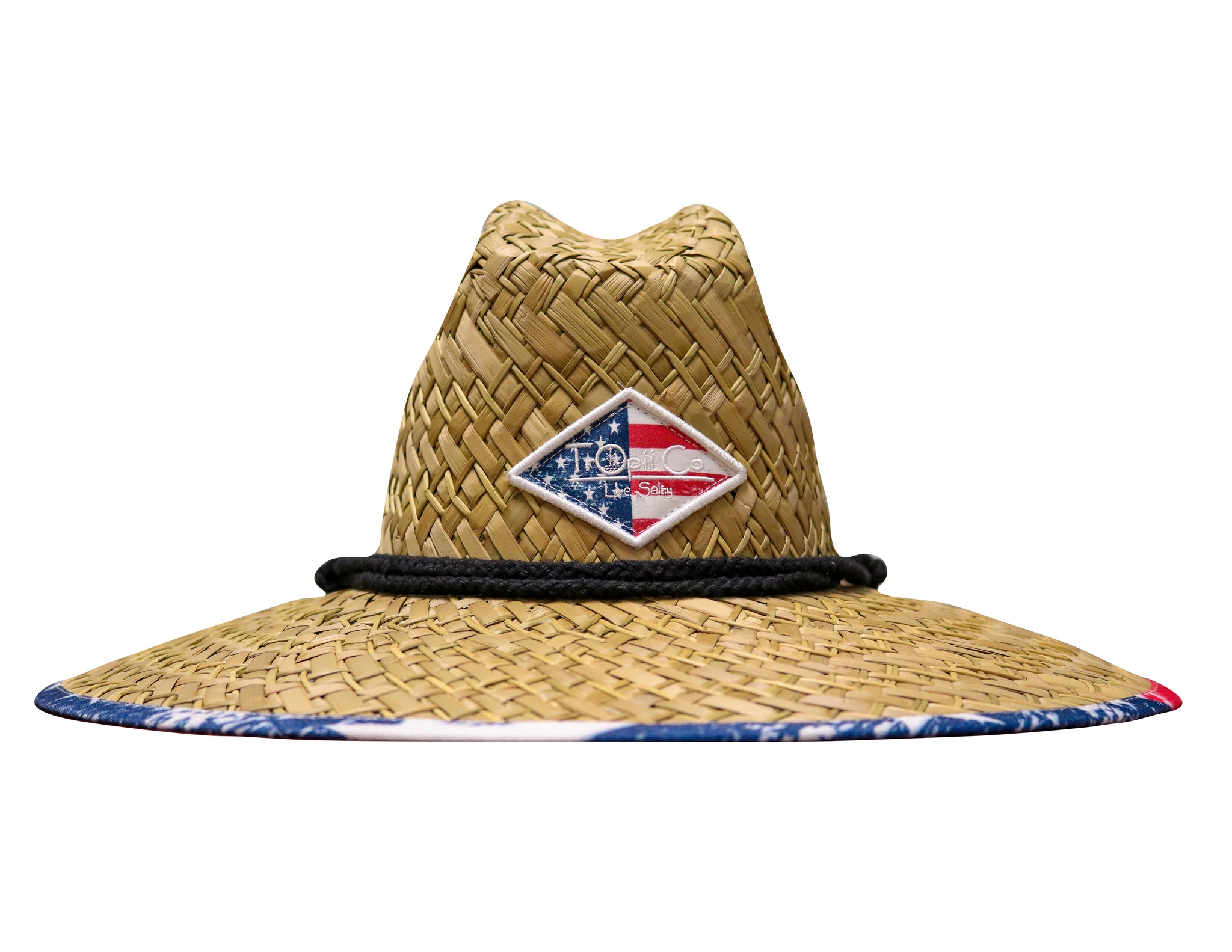 1776 - tropii co. Cool straw hat with American flag design under the brim