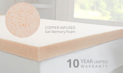 CopperFresh Gel Memory Foam Dorm Mattress Topper
