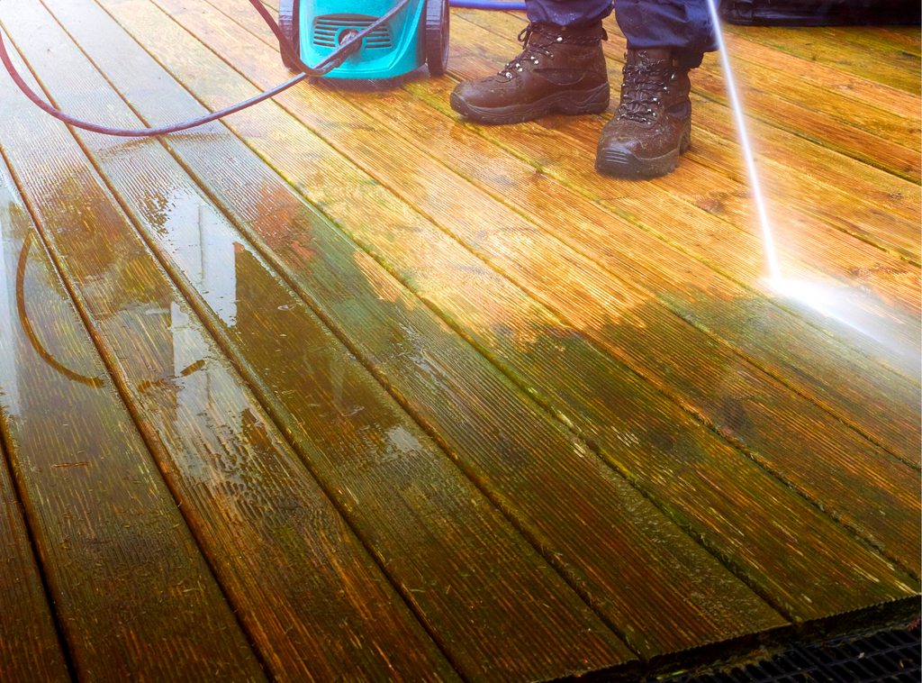 power washing the front deck