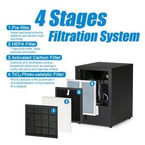 CA300 Digital Control Ozone Air Purifier with HEPA Filter, Anion and UV Sterilizer