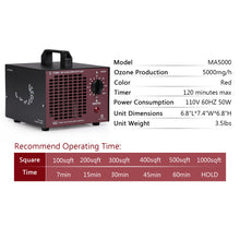 MA5000 Commercial Ozone Generator 5000mg/h, Red