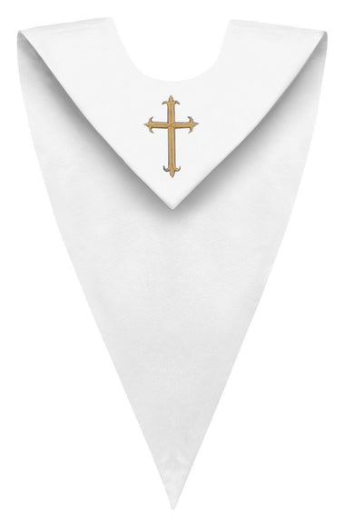 White V-Neck Choir Stole - Church Choir Robes - ChoirBuy