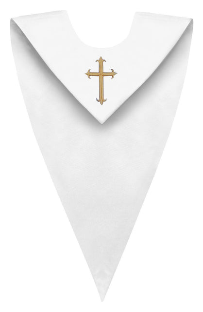 White V-Neck Choir Stole - Churchings