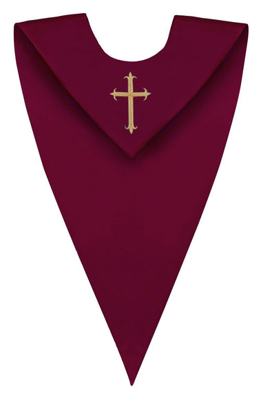 Maroon V-Neck Choir Stole - Churchings