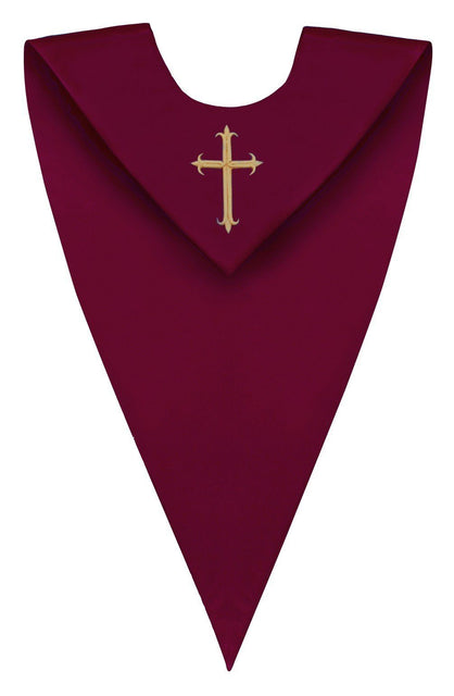 Maroon V-Neck Choir Stole - Church Choir Robes - ChoirBuy