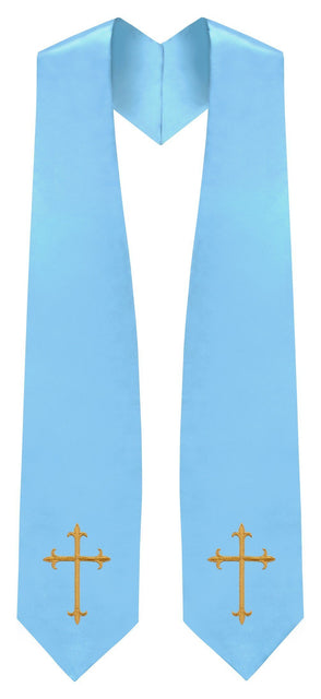 Light Blue Traditional Choir Stole - Church Choir Robes - ChoirBuy