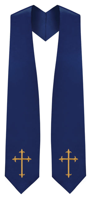 Navy Blue Traditional Choir Stole - Churchings