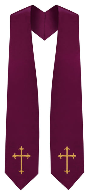 Maroon Traditional Choir Stole - Churchings