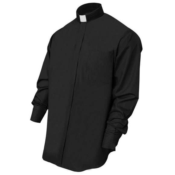 Black Long Sleeve Clergy Shirt - Churchings