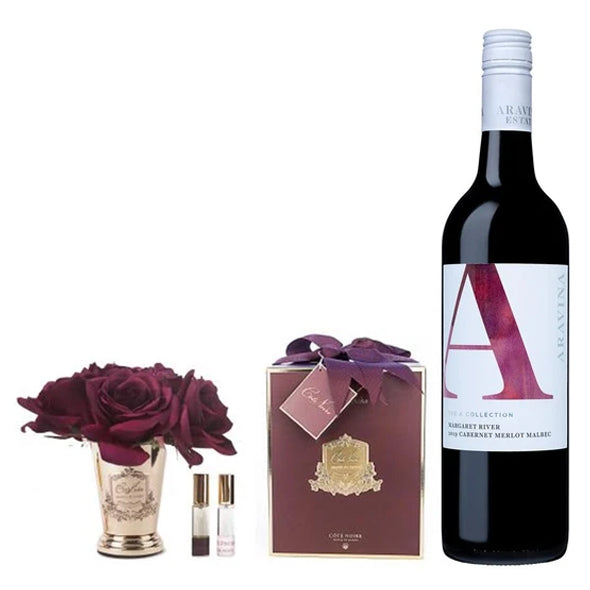 Cabernet Merlot Malbec with Côte Noire Seven Rose Bouquet In Carmine Red & Gold plus FREE delivery