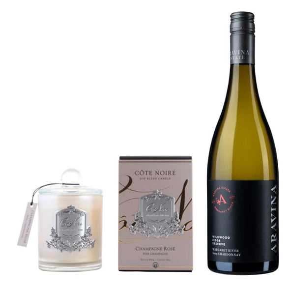 Wildwood Ridge Reserve Chardonnay with Côte Noir Pink Champagne & Gold Candle plus FREE delivery