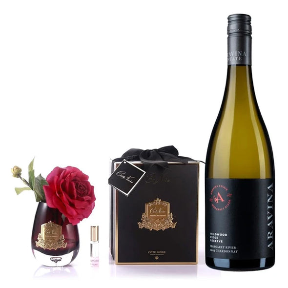 Wildwood Ridge Reserve Chardonnay with Côte Noir Tear Drop Tea Rose Black Glass In Carmine Red plus FREE delivery