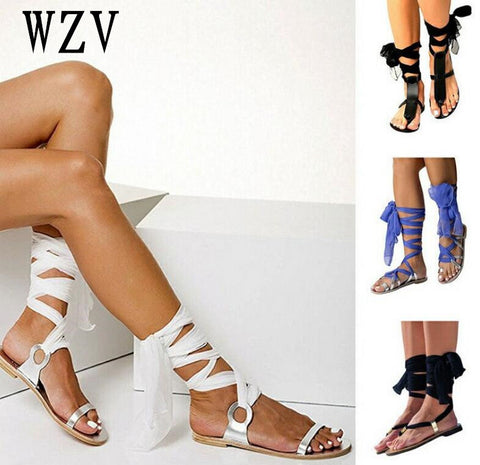 e976ffa2a583 2018 Roman Style Lace-up Woman Flat sandals - Classy by Cookie