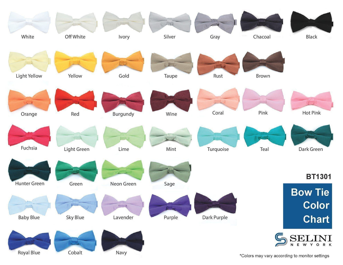 "Men'S 2.5"" Poly Satin Banded Bow Ties Bt1301 (Pc)"