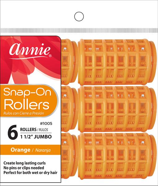 #1005 Annie Snap-On Rollers Jumbo / Orange 6Pc
