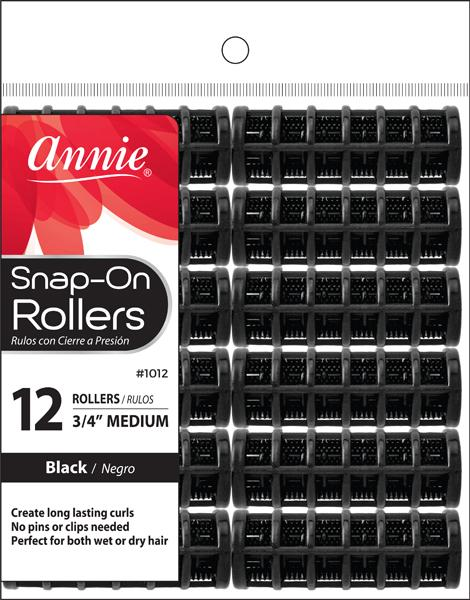 #1012 Annie Snap-On Rollers Medium / Black 12Pc