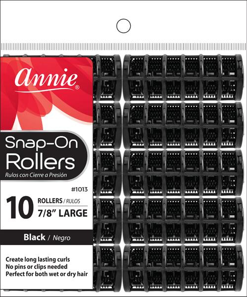#1013 Annie Snap-On Rollers Large / Black10Pc