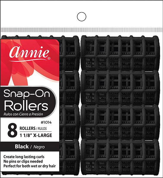 #1014 Annie Span-On Rollers X-Large / Black 8Pc