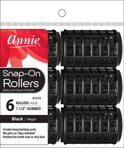 #1015 Annie Snap-On Rollers Jumbo / Black 6Pc