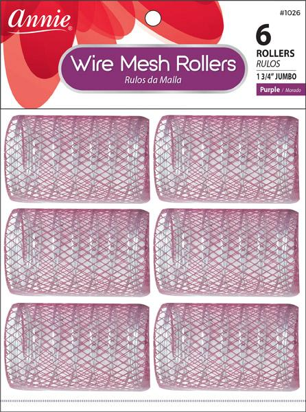 #1026 Annie Wire Mesh Rollers Jumbo / Purple 6Pc
