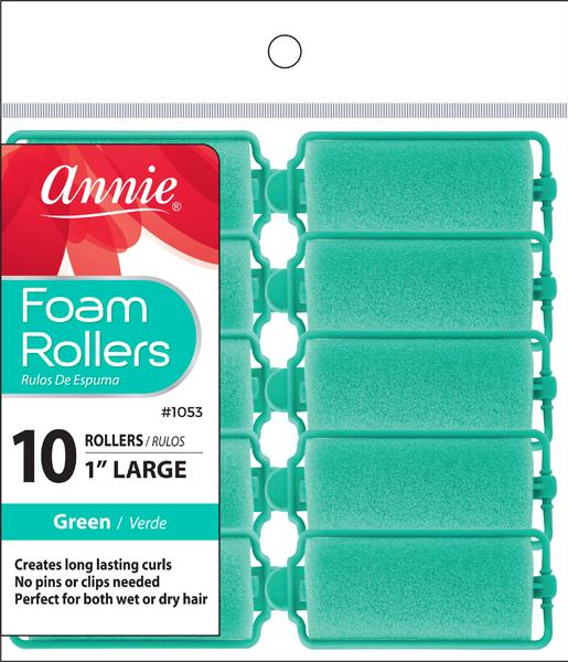 #1053 Annie Foam Rollers Large / Green10Pc