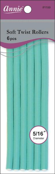 "#1199 Annie Soft Twist Rollers 7"" Long  / Green 6Pc"