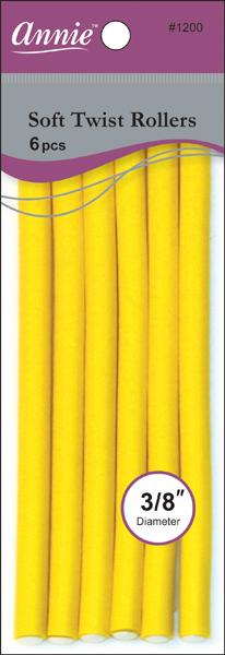 "#1200 Annie Soft Twist Rollers 7""Long / Yellow 6Pc"