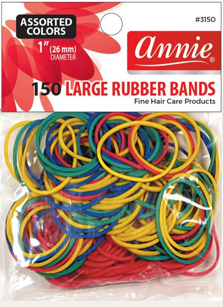 #3150 Annie Rubber Bands Large / Assort150Pc