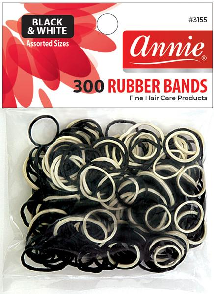 #3155 Annie Rubber Bands Black and White / Assort 300Pc