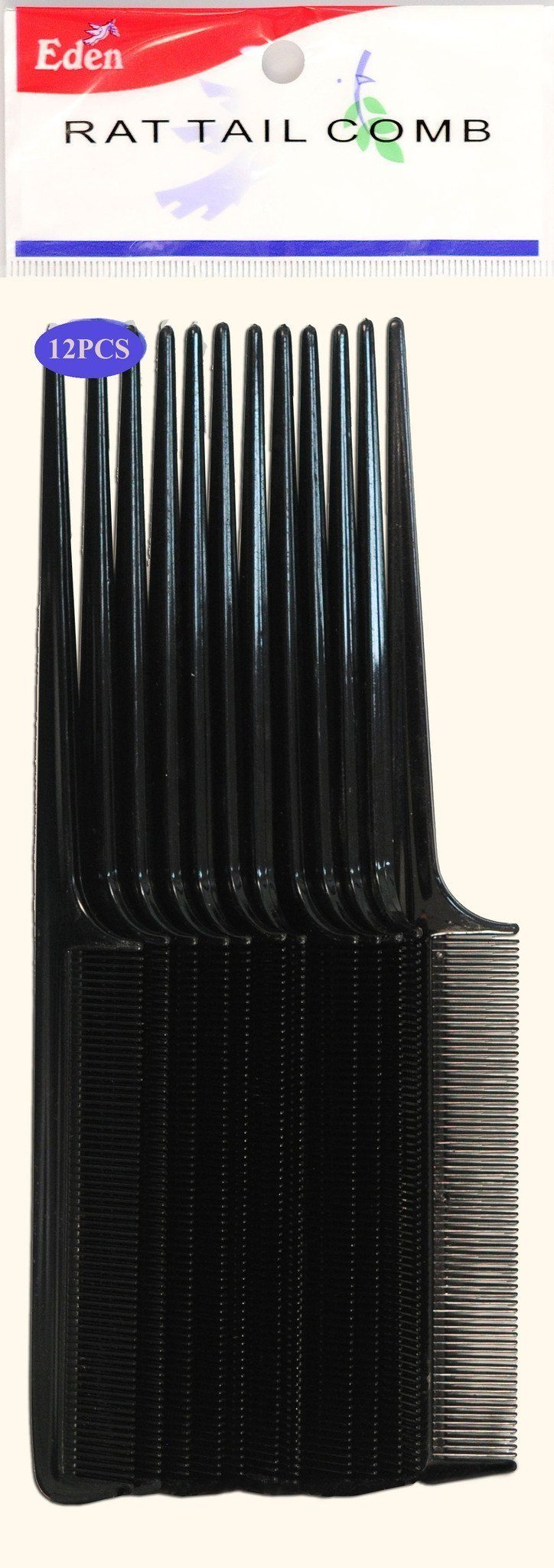 #10112 Eden 12pc Black Rat Tail Comb