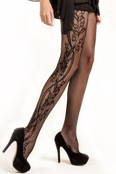 Yelete Lady's Plus Size Side Whimsical Floral Inset Fishnet Tights Queen Size#168YD041Q (PC)