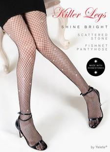 Yelete Shine Bright Scattered RhineStones Fishnets Queen Size #168YD090Q (PC)