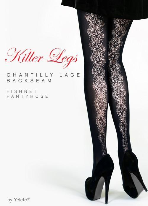 Yelete Lady's Chantilly Lace Backseam Fishnets #168YD096 (PC)